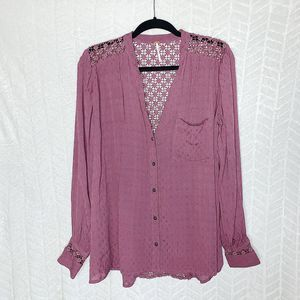 Free People Lace Insets Button Down Shirt Size- S